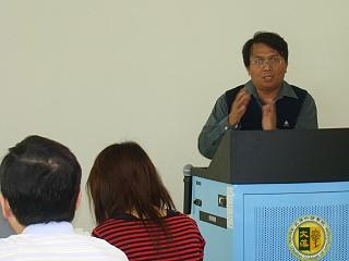 會中唯一的原住民滋膏老師分享報告《文藻網課助理》